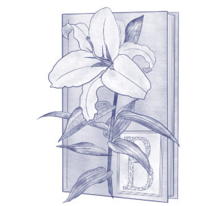 Drawing of a lily in front of book marked with the letter B, a logo representing Bitter Lily Books, LLC